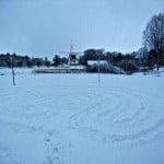 Labyrint pad in de sneeuw, Voorburg 2013